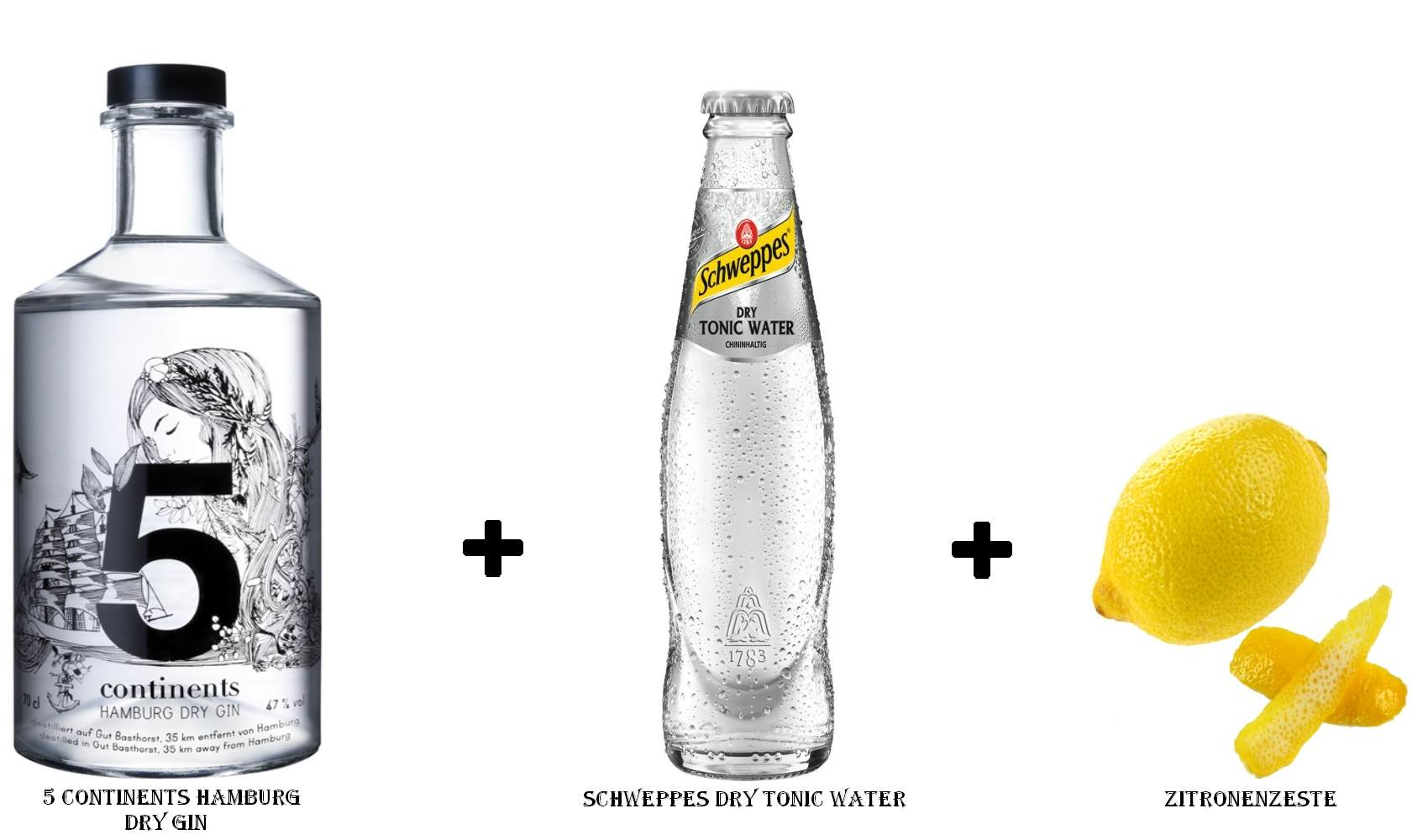 5 Continents Hamburg Dry Gin + Schweppes Dry Tonic Water + Zitronenzeste