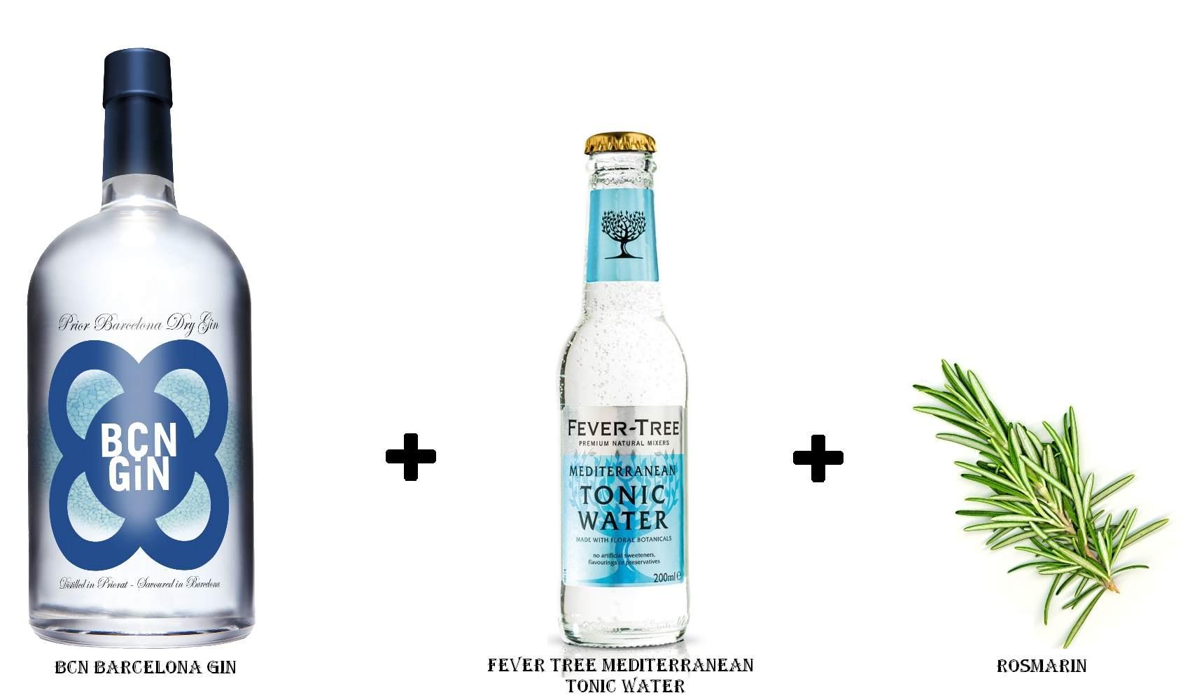 BCN Barcelona Gin + Fever Tree Mediterranean Tonic Water +  Rosmarin