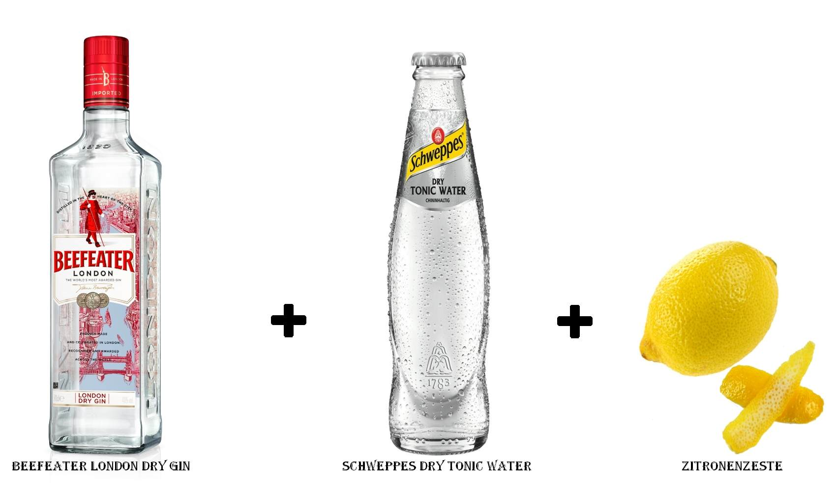 Beefeater London Dry Gin + Schweppes Dry Tonic Water + Zitronenzeste