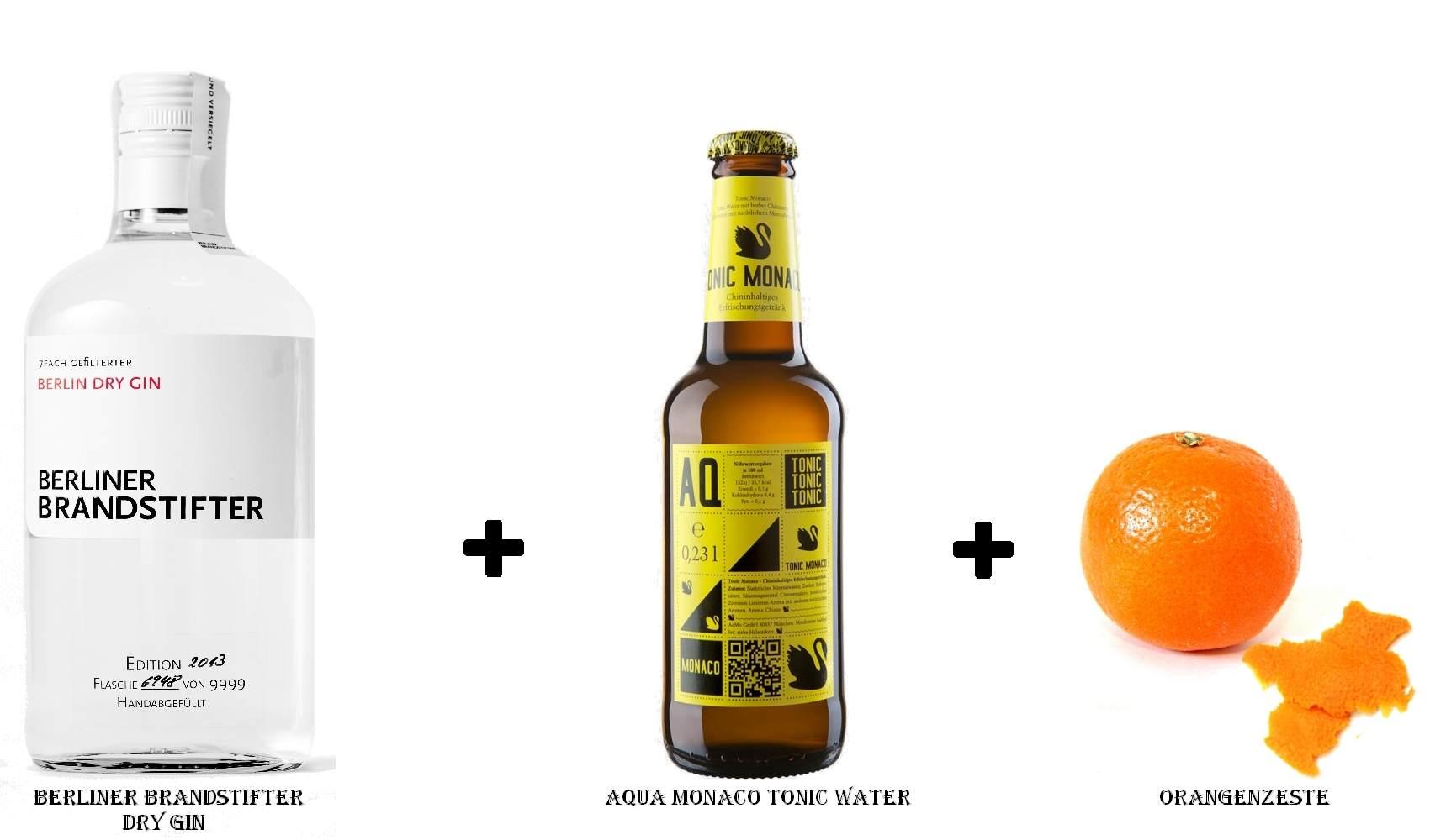 Berliner Brandstifter Dry Gin + Aqua Monaco Tonic Water + Orangenzeste