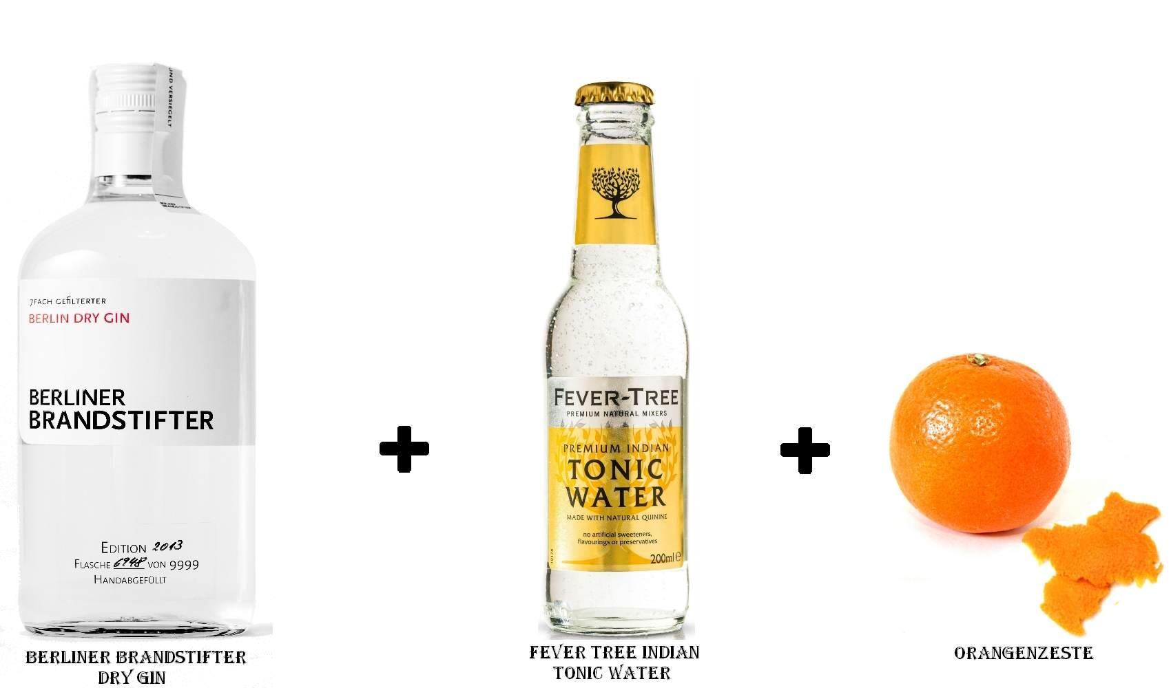 Berliner Brandstifter Dry Gin + Fever Tree Indian Tonic Water + Orangenzeste