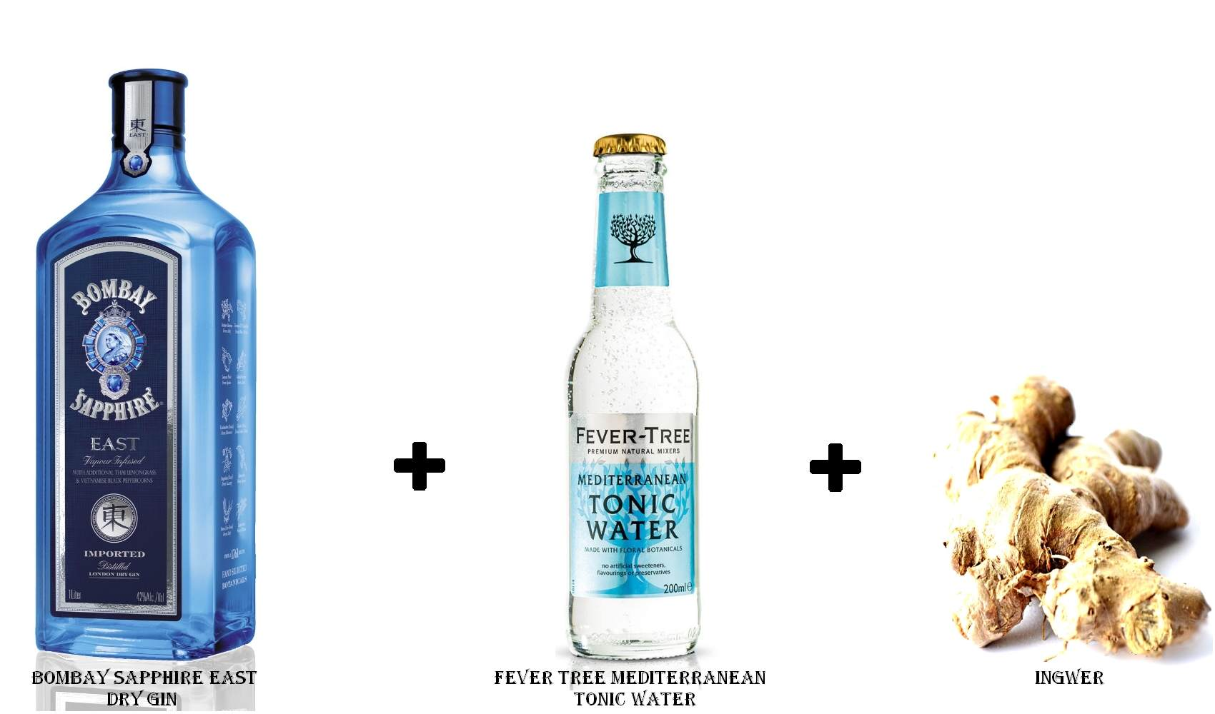 Bombay Sapphire East Dry Gin + Fever Tree Mediterranean Tonic Water + Ingwer