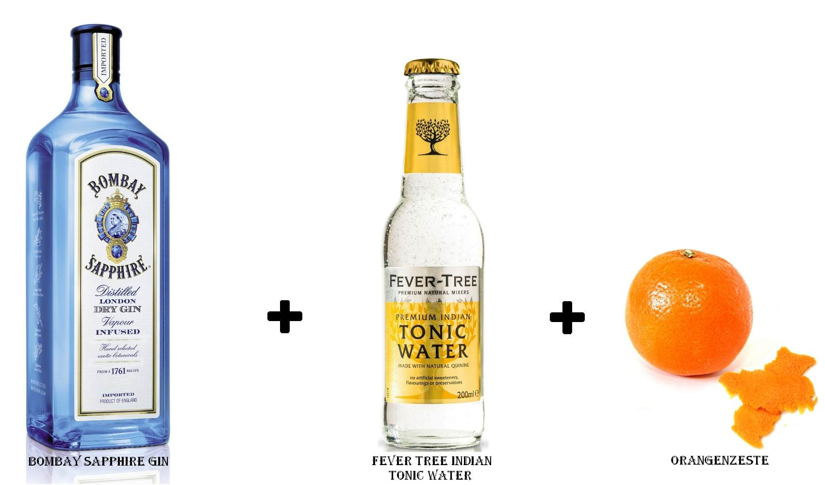 Bombay Sapphire Gin + Fever Tree Indian Tonic Water + Orangenzeste