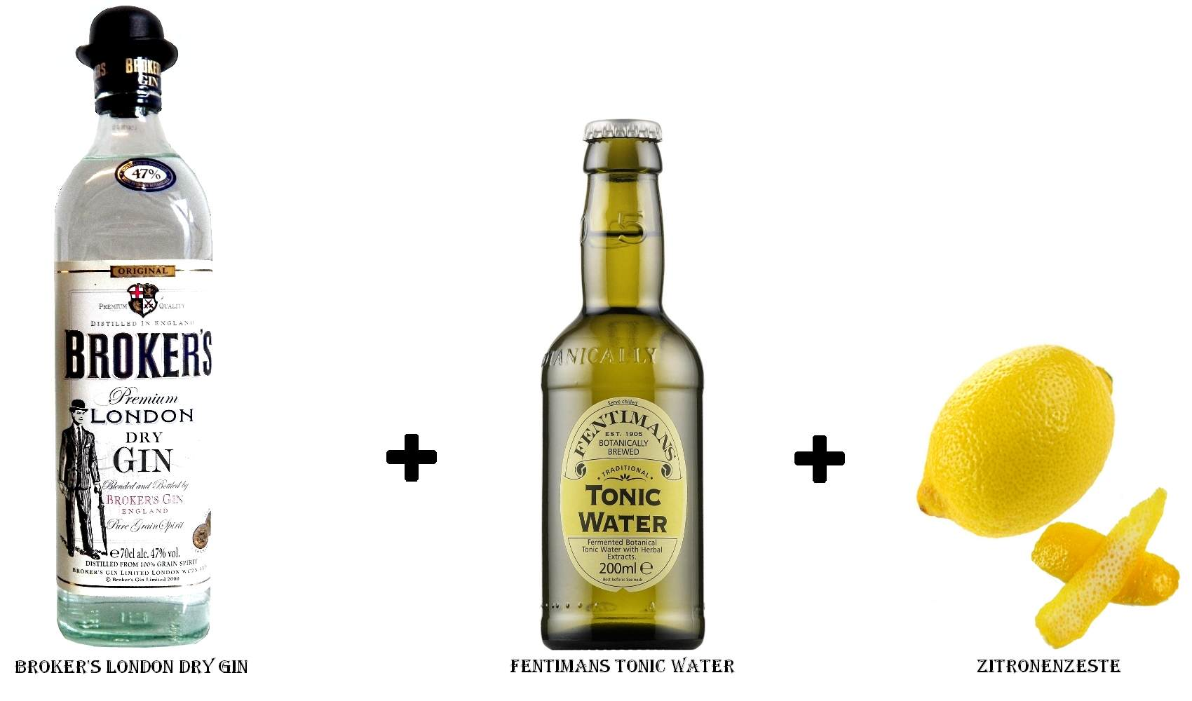 Broker's London Dry Gin + Fentimans Tonic Water + Zitronenzeste