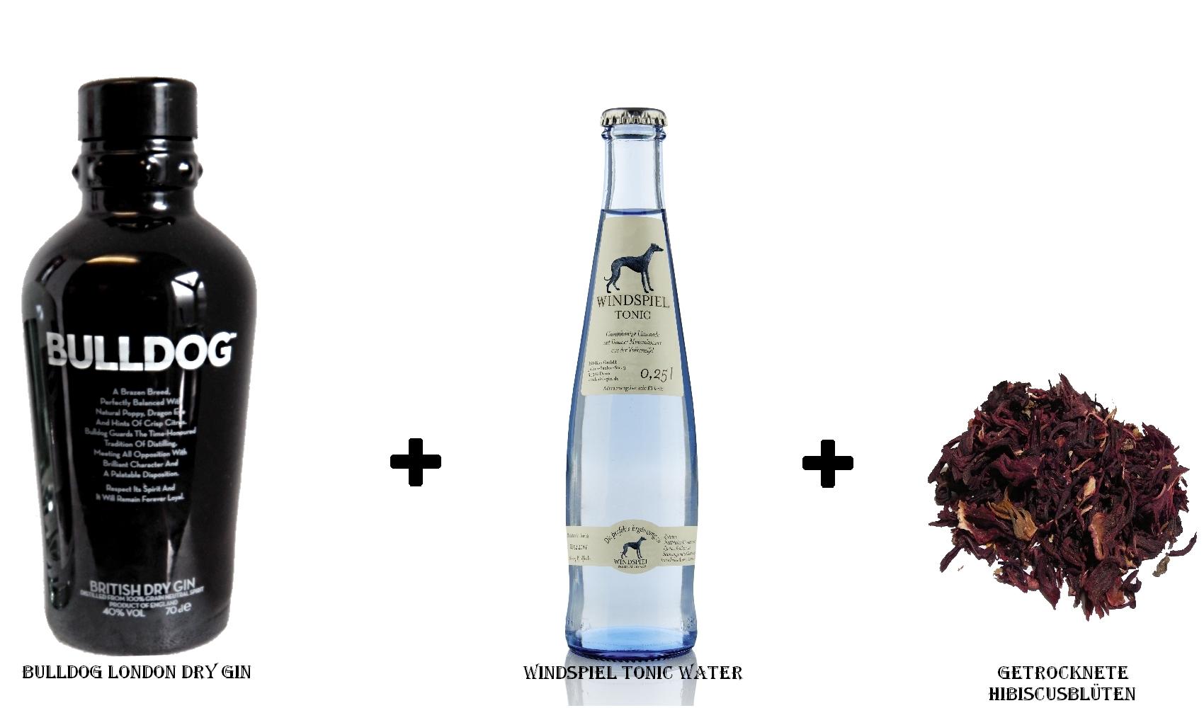 Bulldog London Dry Gin + Windspiel Tonic Water + getrocknete Hibiscusblüten