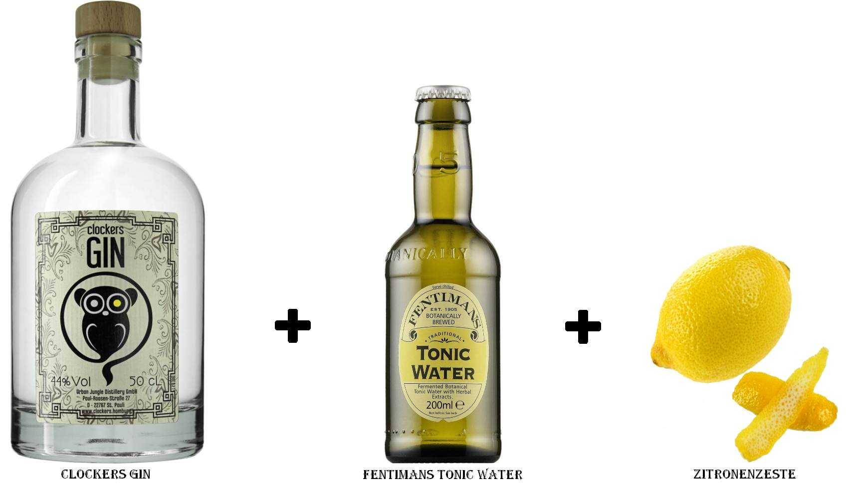 Clockers Gin + Fentimans Tonic Water + Zitronenzeste