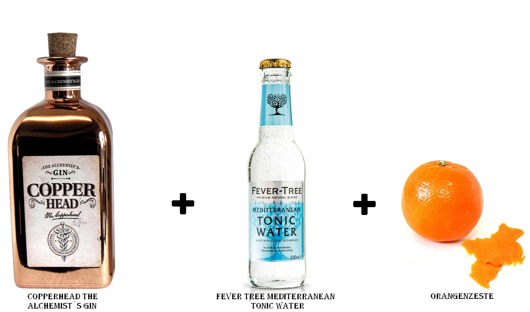 Copperhead The Alchemist´s Gin + Fever Tree Mediterranean Tonic Water + Orangenzeste