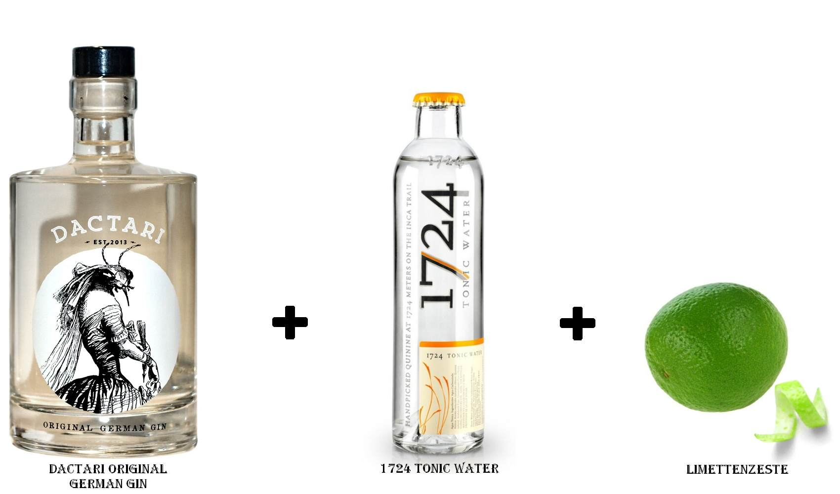 Dactari Original German Gin + 1724 Tonic Water + Limettenzeste