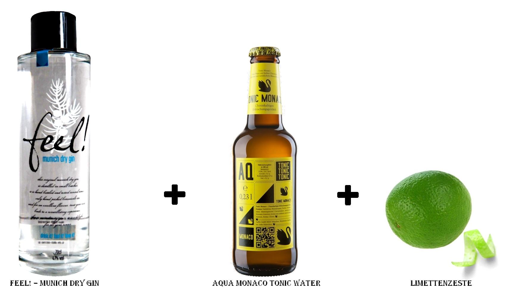 Feel! – Munich Dry Gin + Aqua Monaco Tonic Water + Limettenzeste