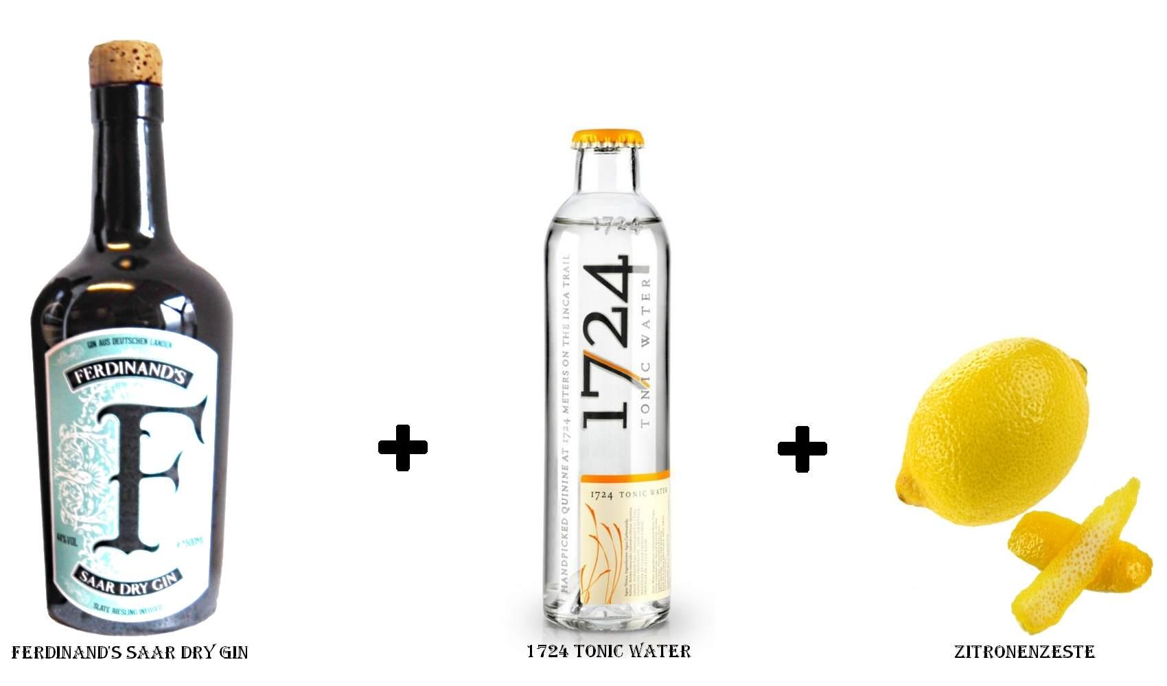 Ferdinand's Saar Dry Gin + 1724 Tonic Water + Zitronenzeste