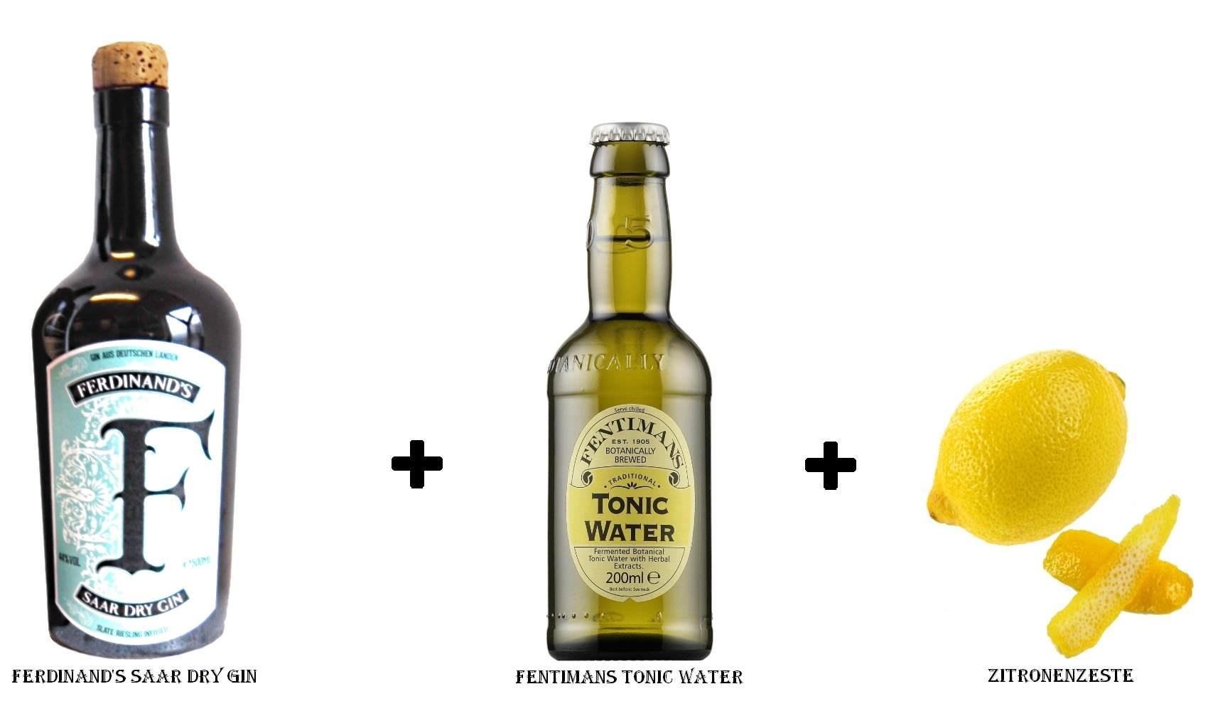 Ferdinand's Saar Dry Gin + Fentimans Tonic Water + Zitronenzeste