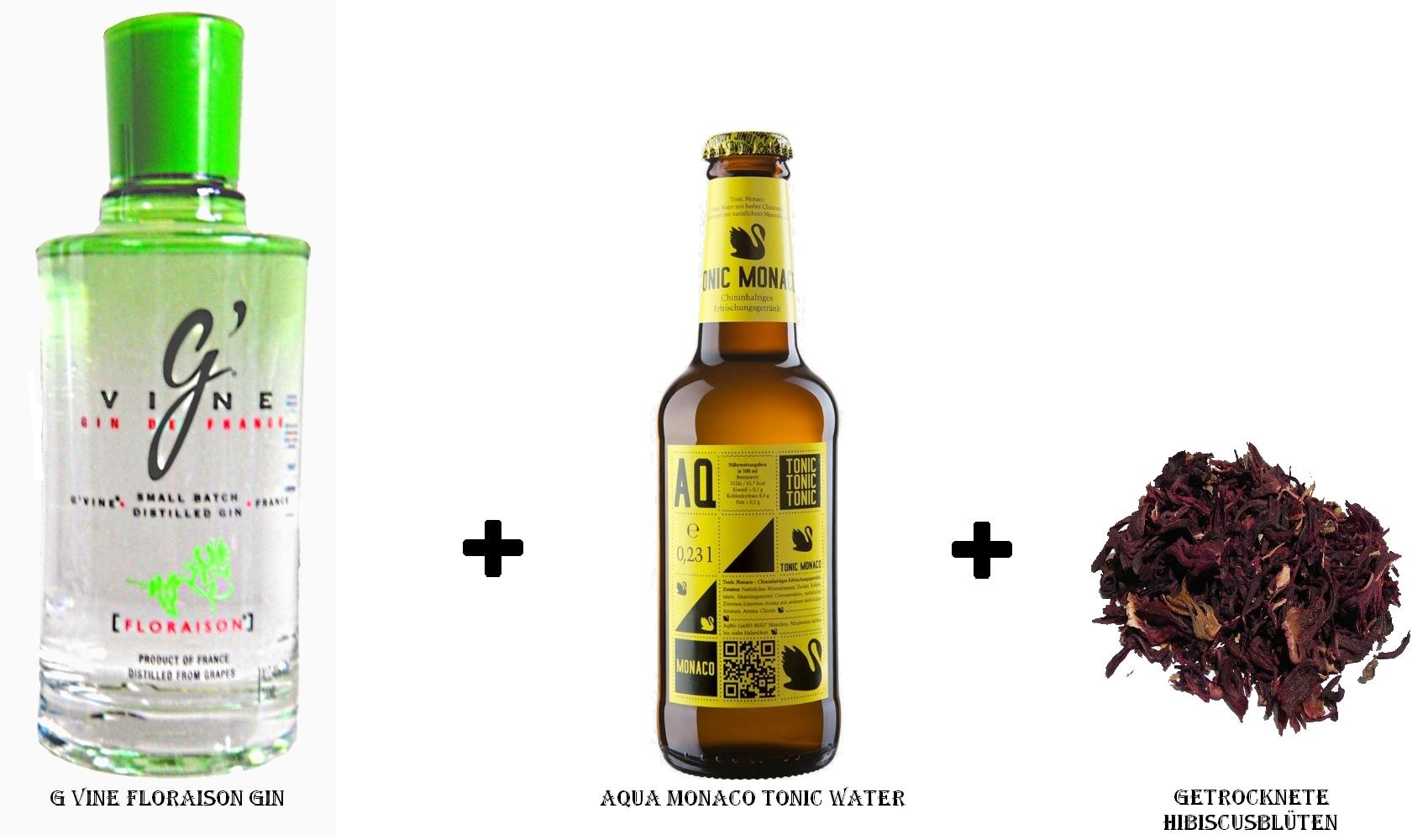 G Vine Floraison Gin + Aqua Monaco Tonic Water + Hibiscusblüte