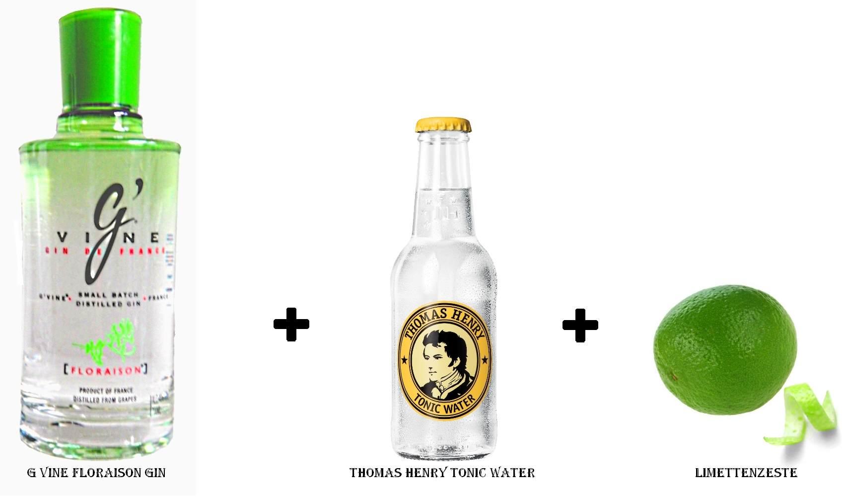 G Vine Floraison Gin + Thomas Henry Tonic Water + Limettenzeste