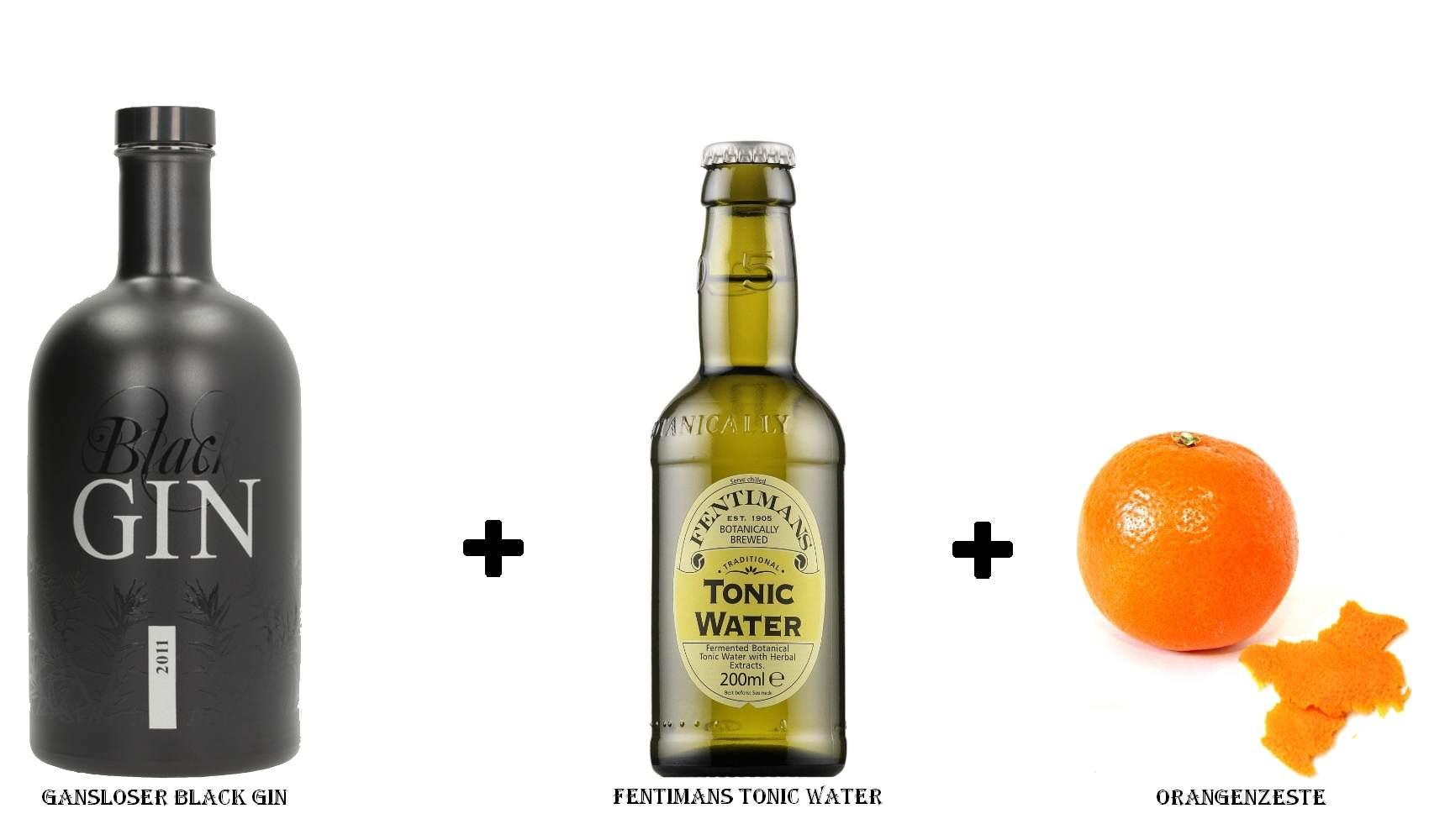 Gansloser Black Gin + Fentimans Tonic Water + Orangenzeste
