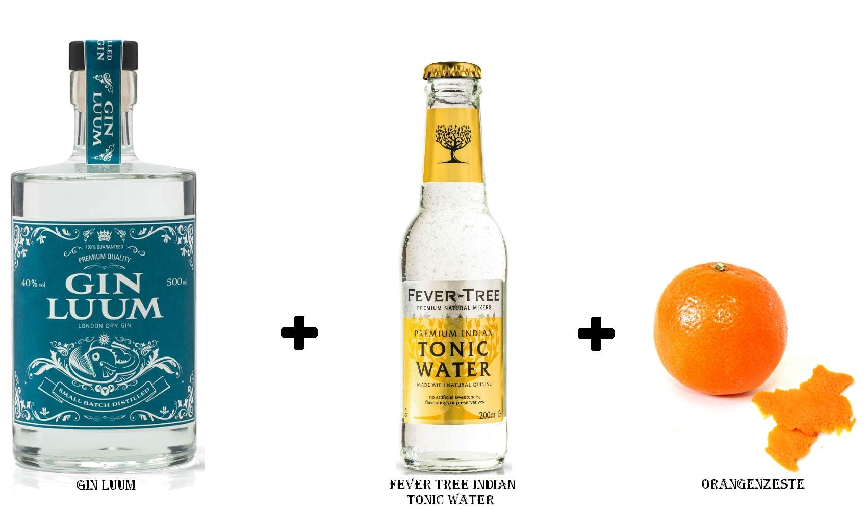 Gin Luum + Fever Tree Indian Tonic Water + Orangenzeste