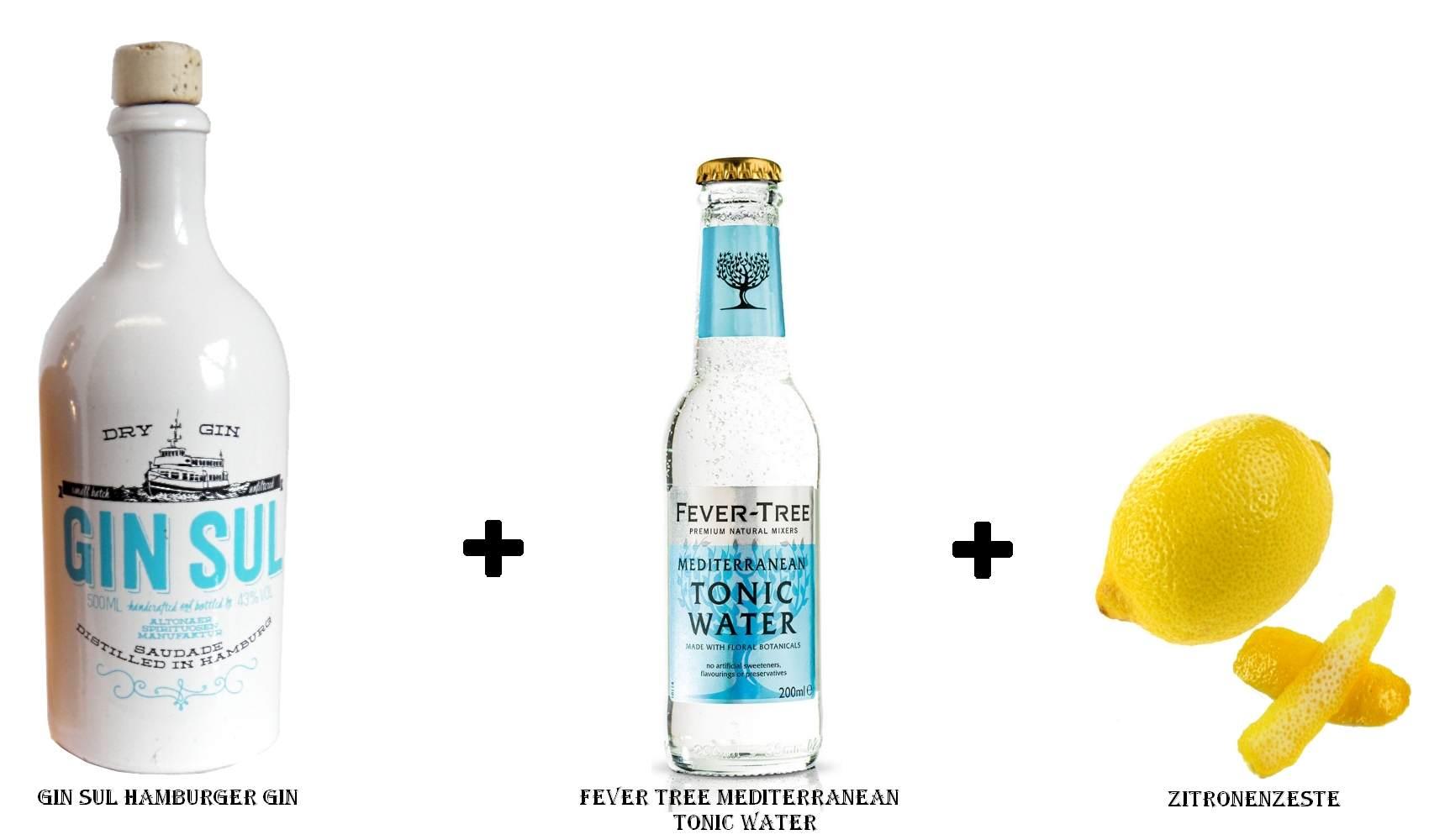Gin Sul Hamburger Gin + Fever Tree Mediterranean Tonic Water + Zitronenzeste