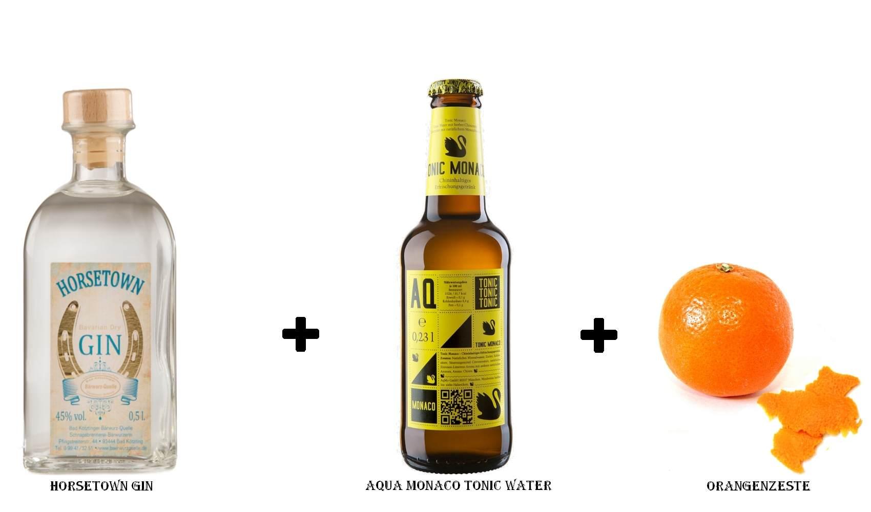Horsetown Gin + Aqua Monaco Tonic Water + Orangenzeste