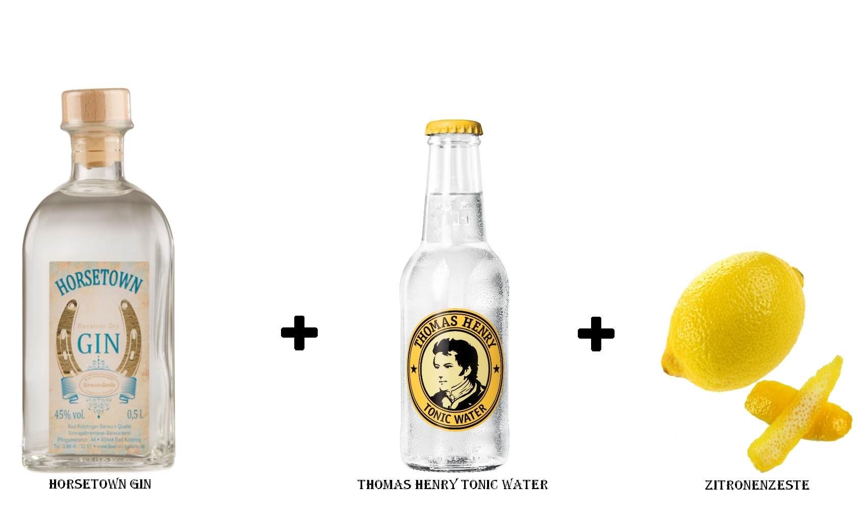 Horsetown Gin + Thomas Henry Tonic Water + Zitronenzeste