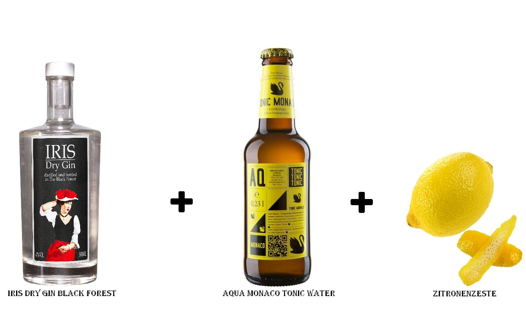IRIS Dry Gin Black Forest + Aqua Monaco Tonic Water + Zitronenzeste