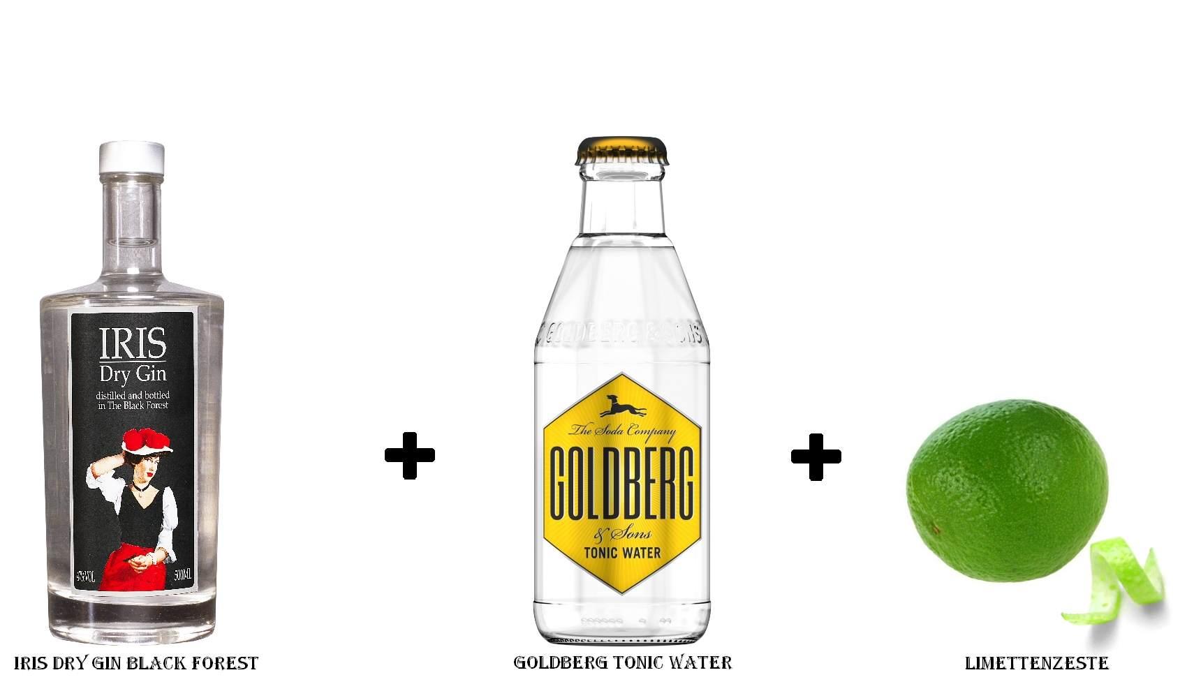 IRIS Dry Gin Black Forest + Goldberg Tonic Water + Limettenzeste