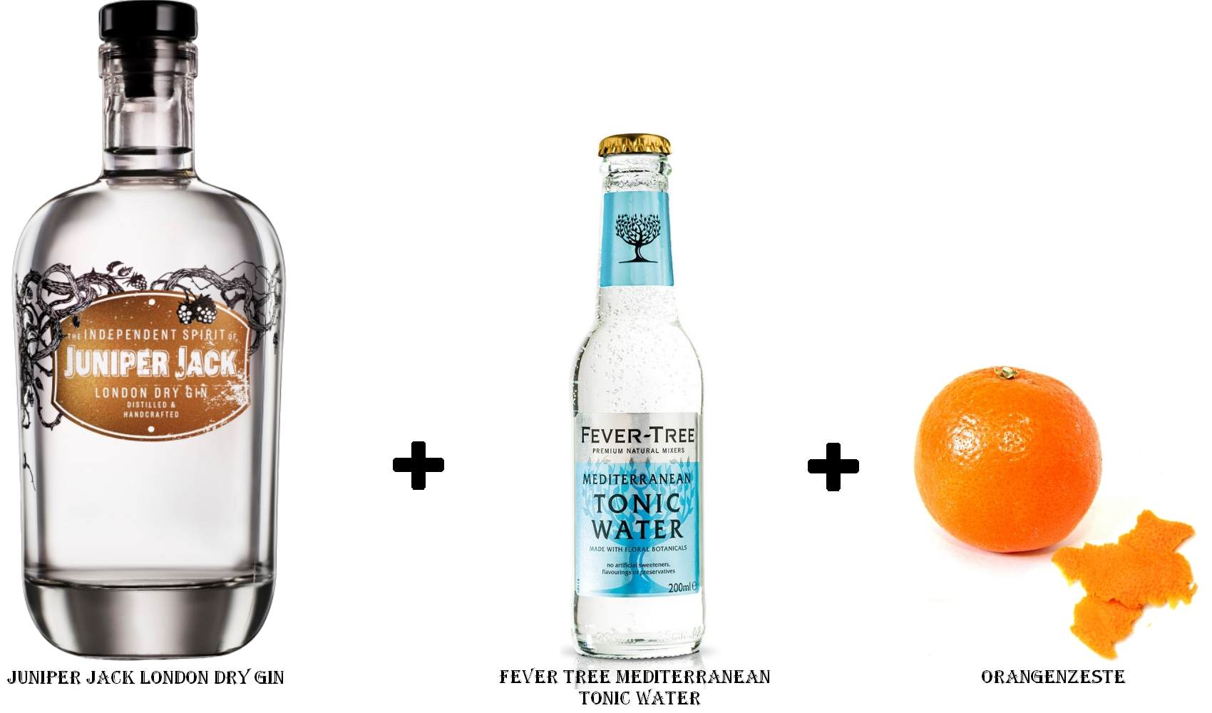 Juniper Jack London Dry Gin + Fever Tree Mediterranean Tonic Water + Orangenzeste