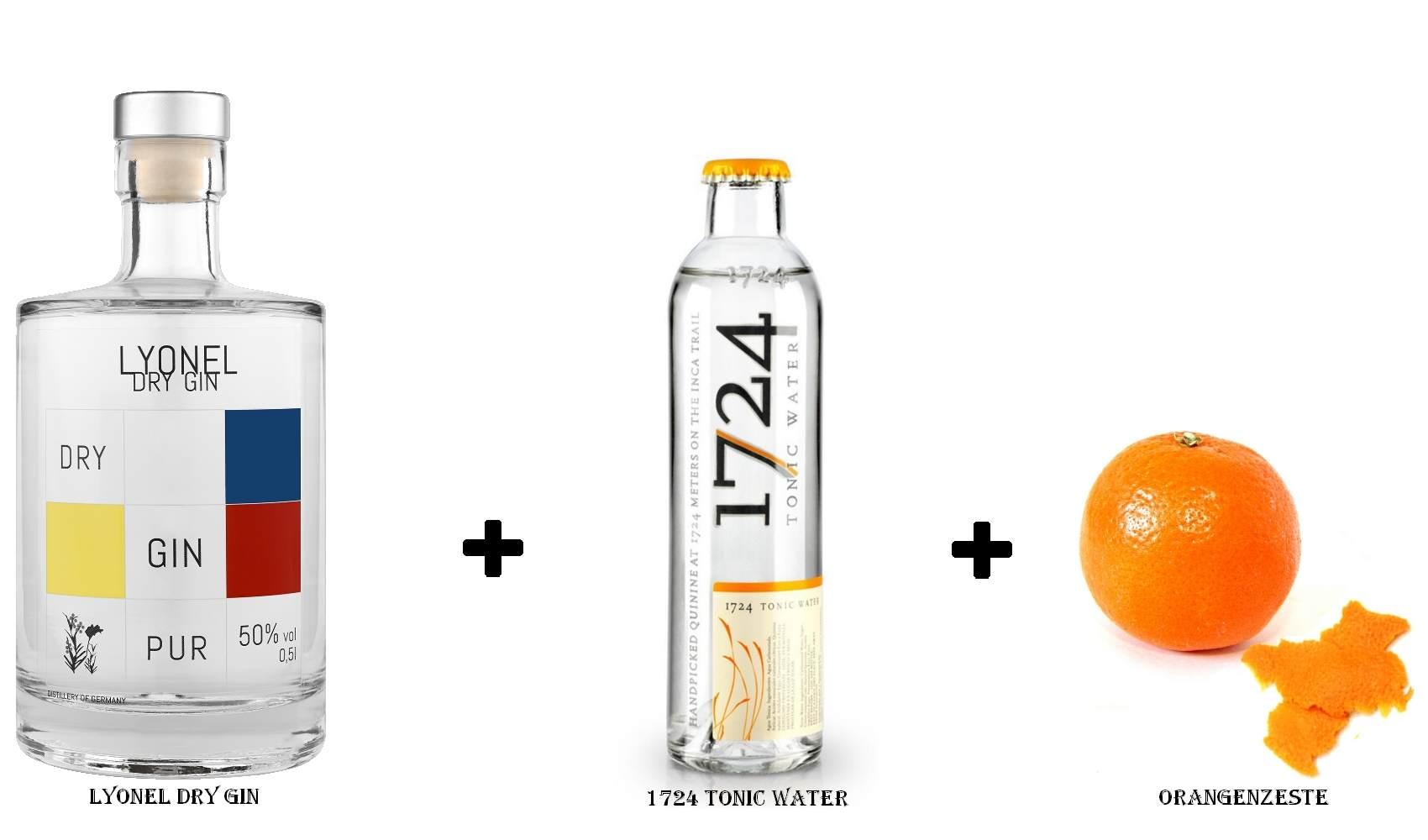 Lyonel Dry Gin + 1724 Tonic Water + Orangenzeste