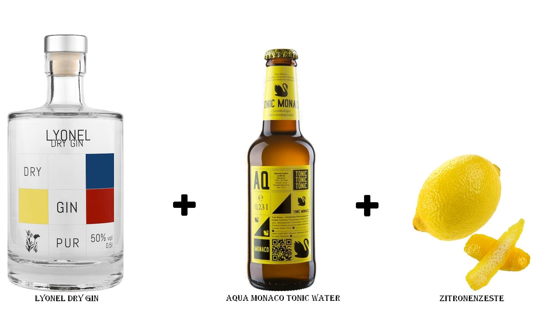 Lyonel Dry Gin + Aqua Monaco Tonic Water + Zitronenzeste