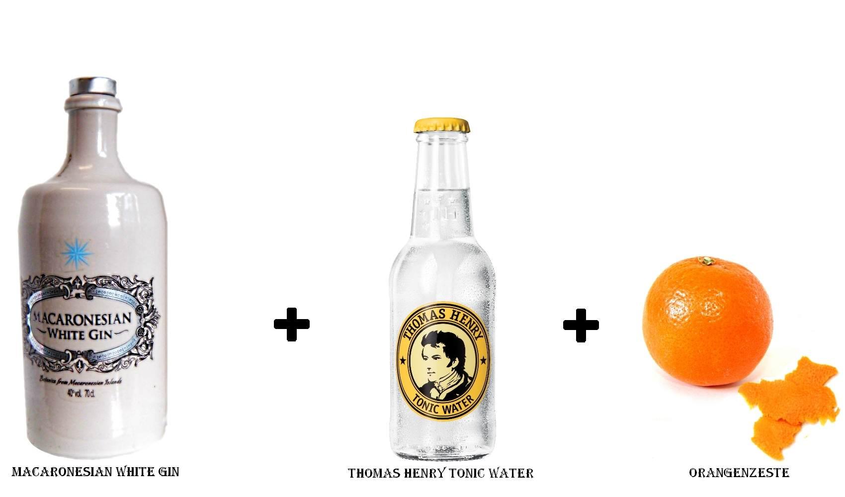 Macaronesian White Gin + Thomas Henry Tonic Water + Orangenzeste