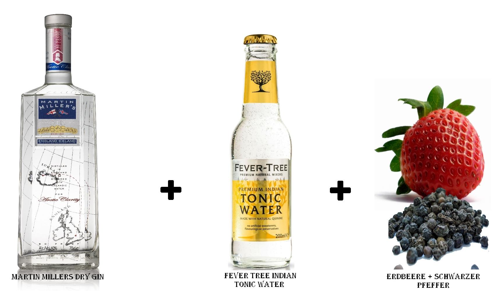 Martin Miller´s Dry Gin + Fever Tree Indian Tonic Water + Erdbeere & schwarzer Pfeffer