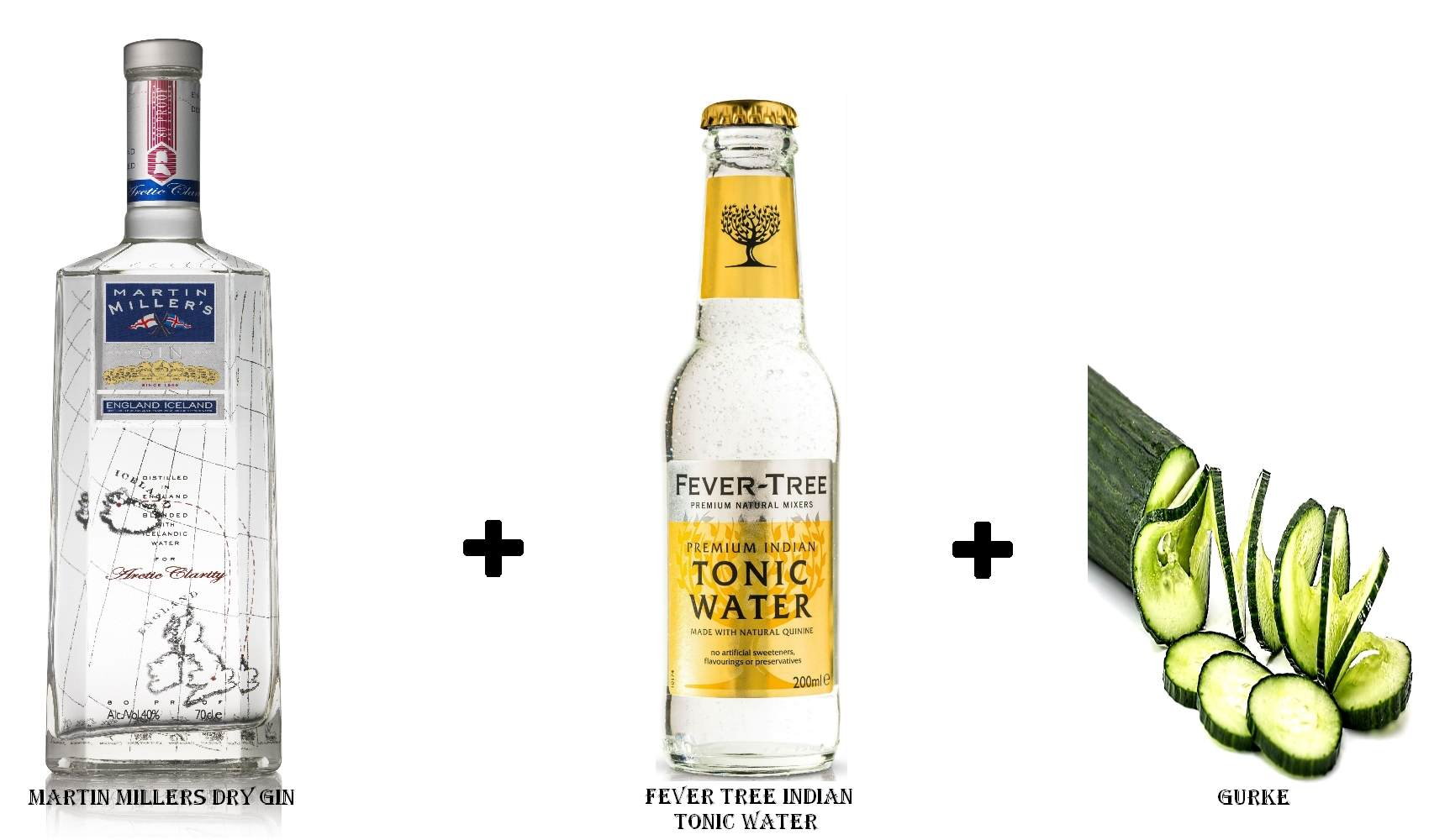 Martin Millers Dry Gin + Fever Tree Indian Tonic Water + Gurkenscheibe