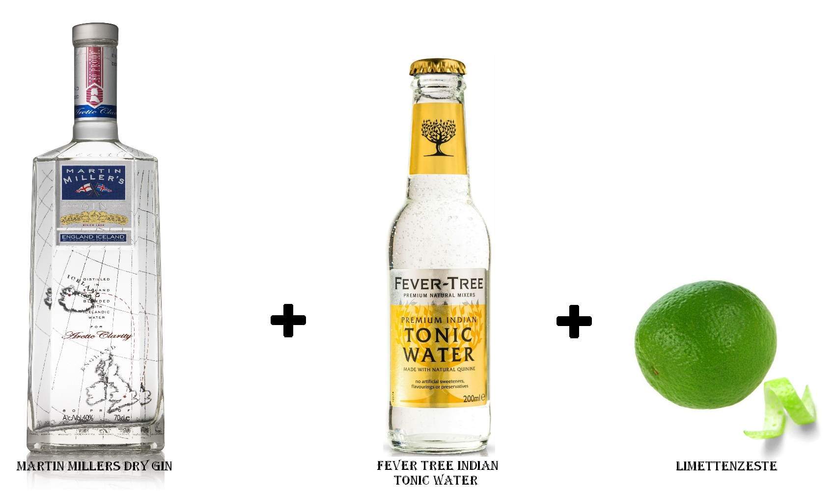Martin Millers Dry Gin + Fever Tree Indian Tonic Water + Limettenzeste