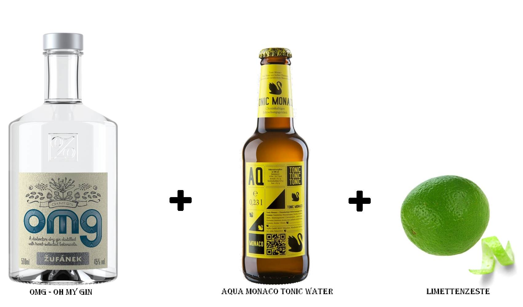 OMG - Oh My Gin + Aqua Monaco Tonic Water + Limettenzeste