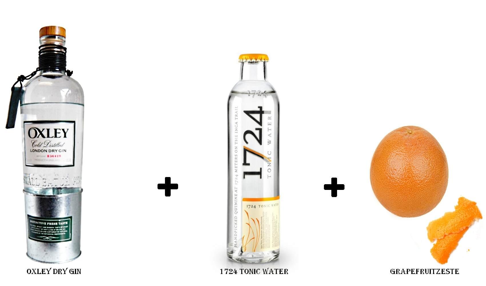 Oxley Dry Gin + 1724 Tonic Water + Grapefruitzeste