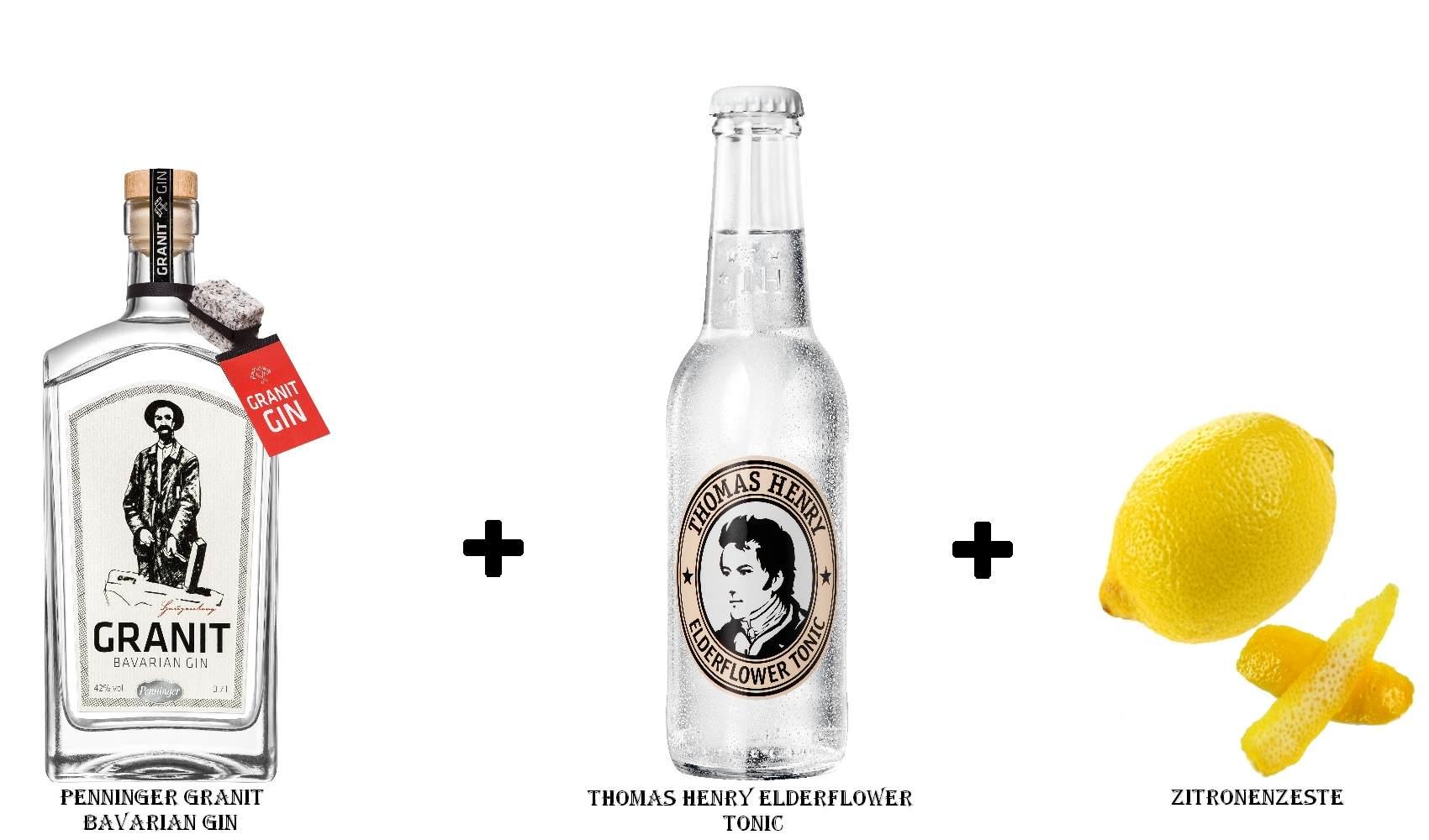 Penninger Granit Bavarian Gin + Thomas Henry Elderflower Tonic + Zitronenzeste