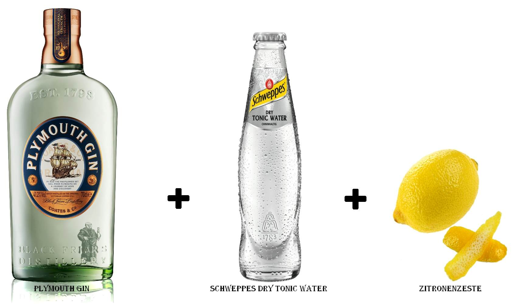 Plymouth Gin + Schweppes Dry Tonic Water + Zitronenzeste