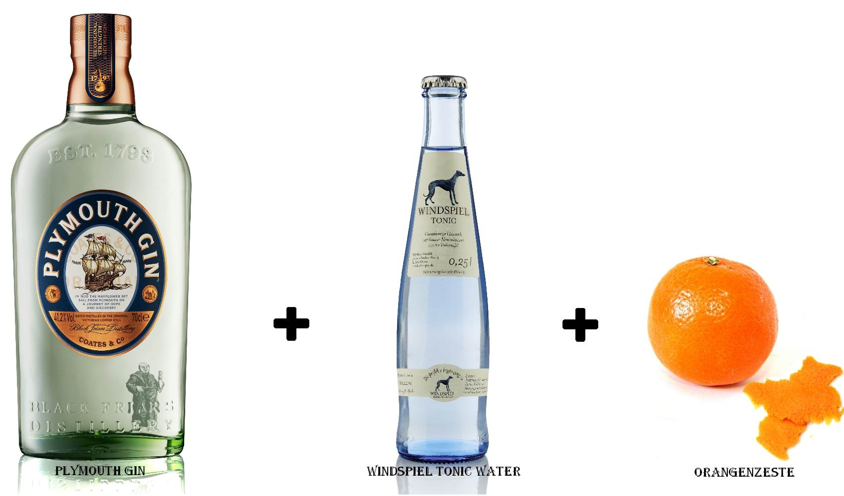 Plymouth Gin + Windspiel Tonic Water + Orangenzeste