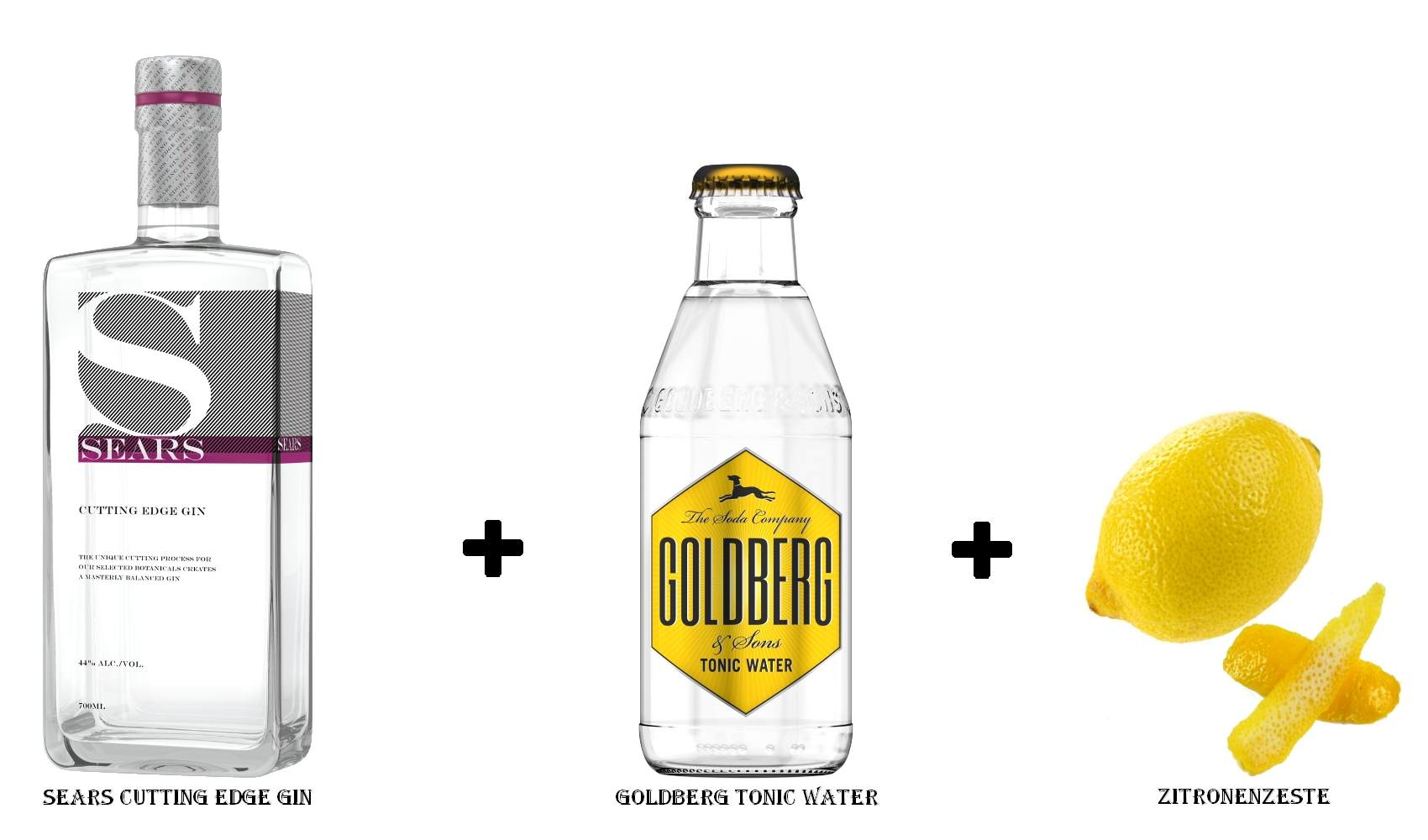 SEARS CUTTING EDGE GIN + Goldberg Tonic Water + Zitronenzeste