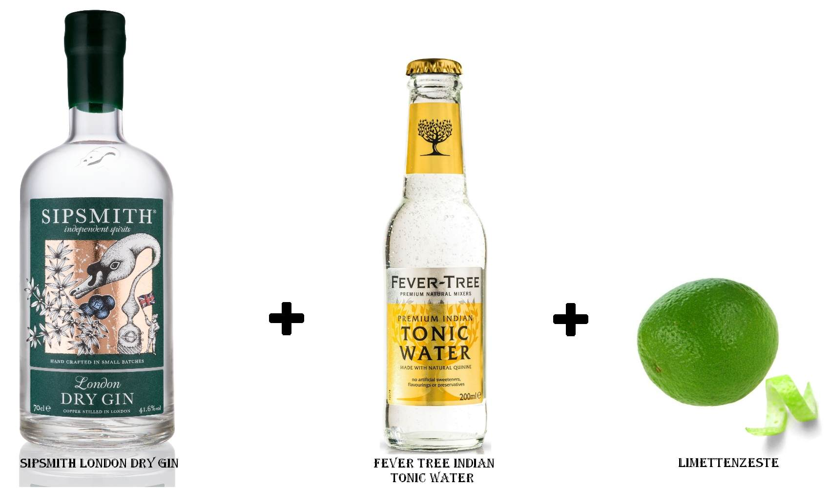 Sipsmith London Dry Gin + Fever Tree Indian Tonic Water + Limettenzeste