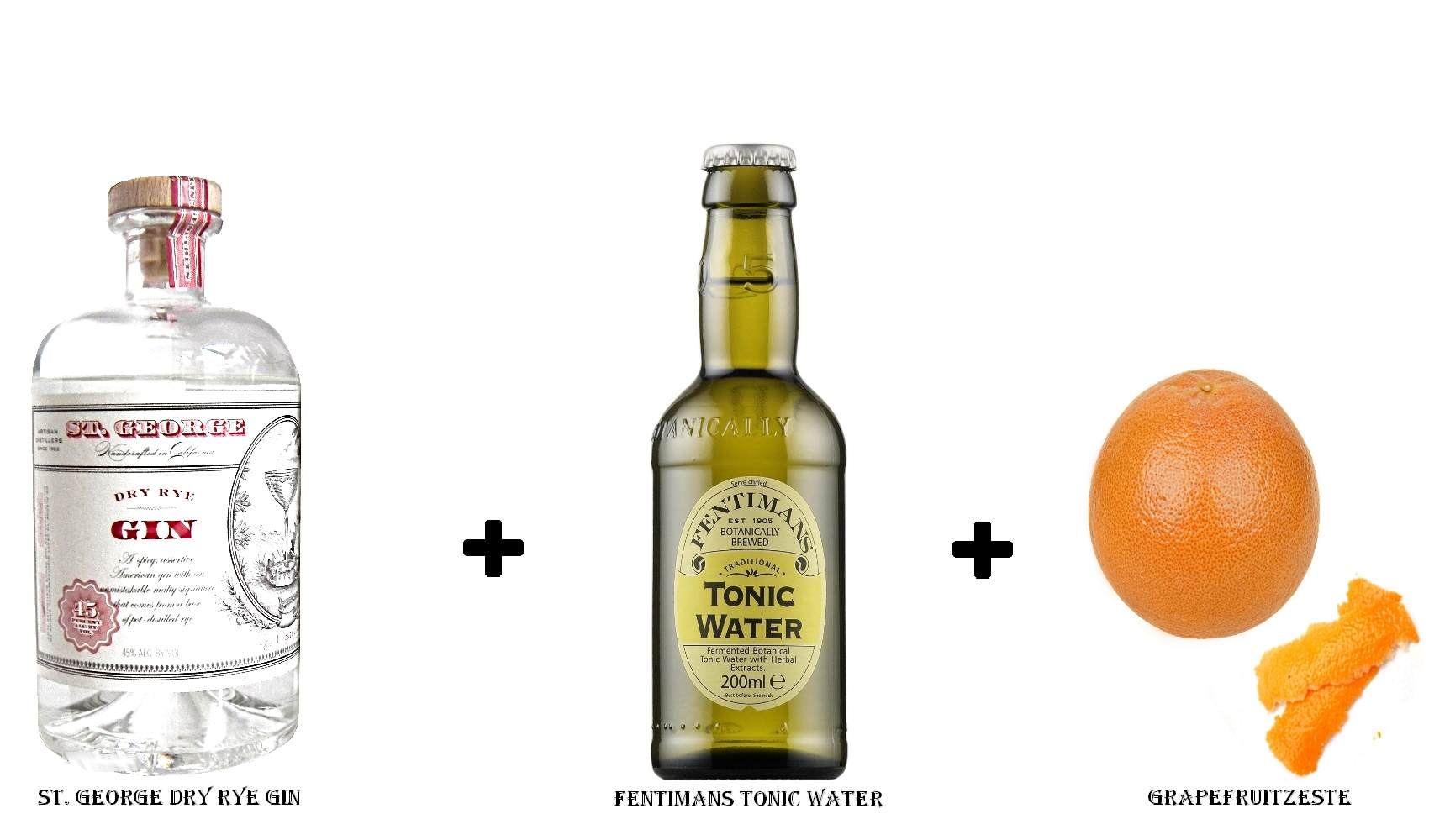St. George Dry Rye Gin + Fentimans Tonic Water + Grapefruitzeste