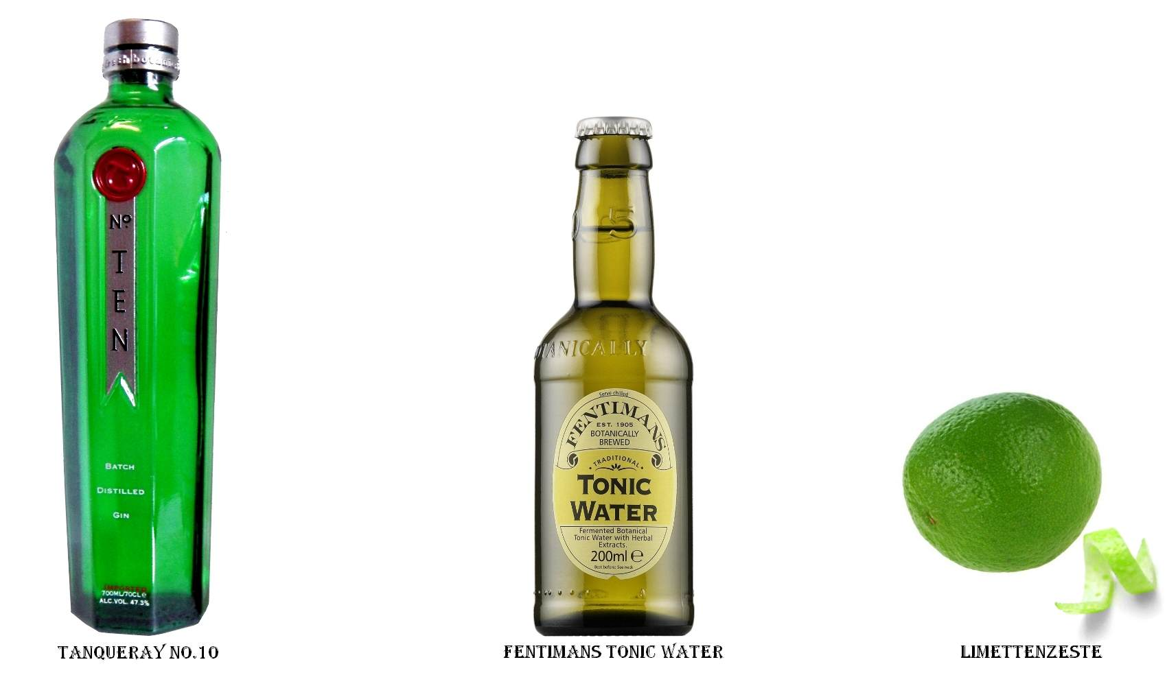 Tanqueray No.10 + Fentimans Tonic Water + Limettenzeste