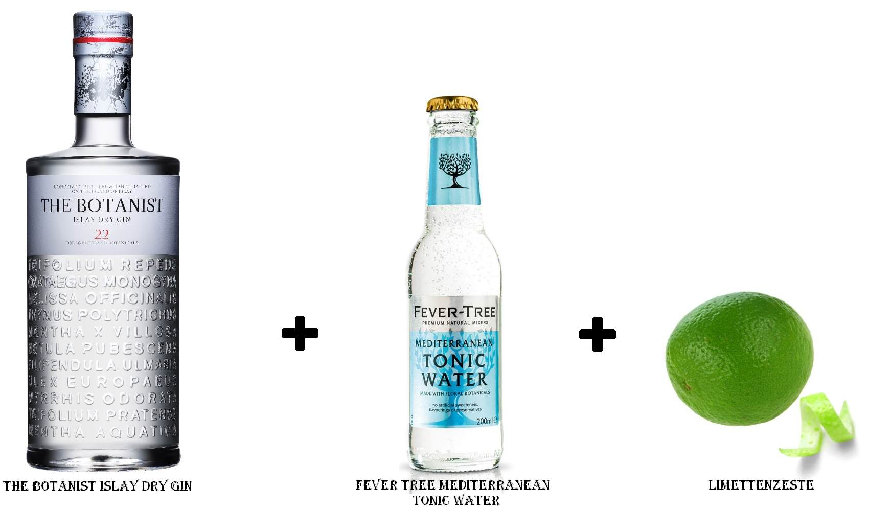 The Botanist Islay Dry Gin + Fever Tree Mediterranean Tonic Water + Limettenzeste
