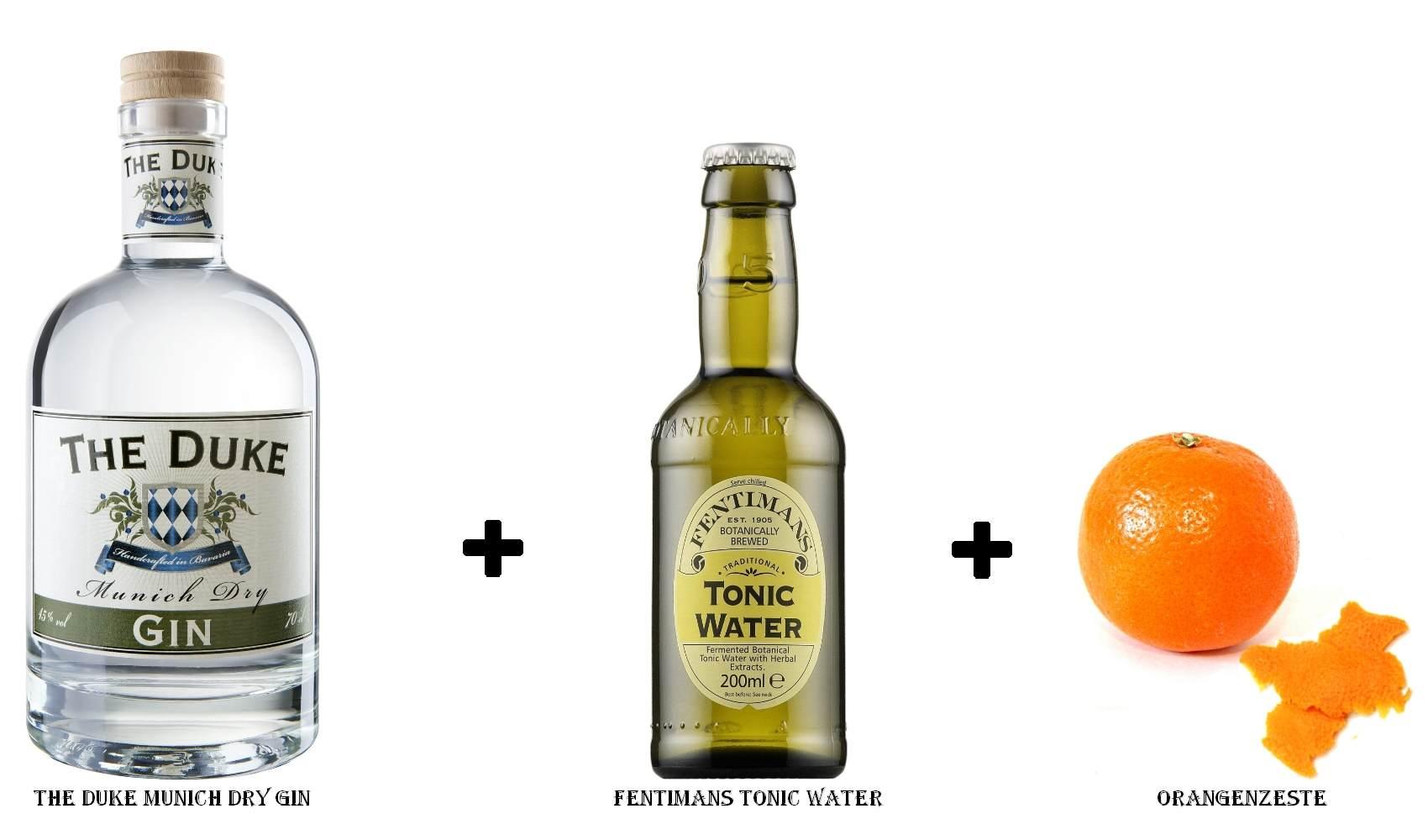 The Duke Munich Dry Gin + Fentimans Tonic Water + Orangenzeste