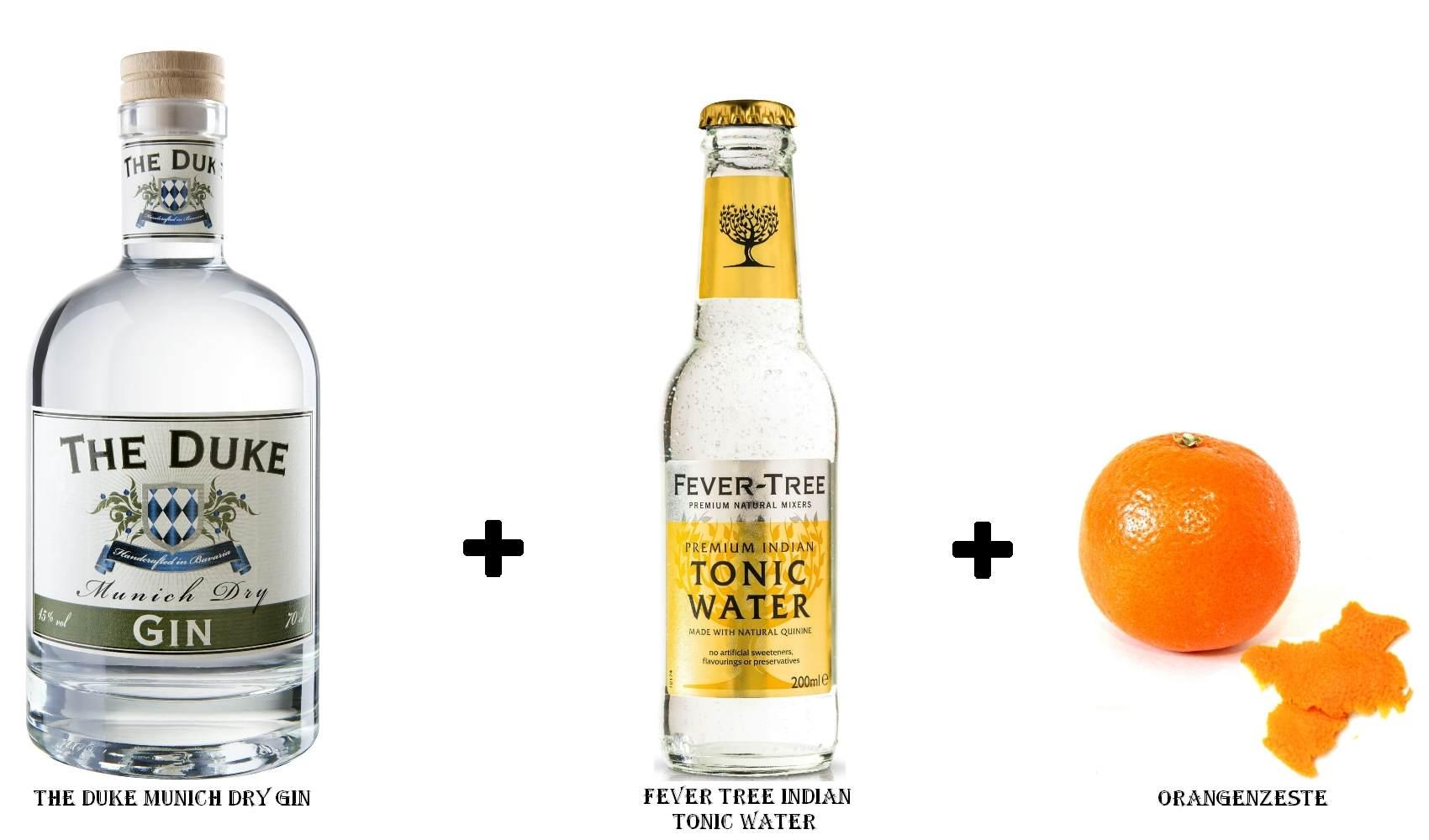 The Duke Munich Dry Gin + Fever Tree Indian Tonic Water + Orangenzeste
