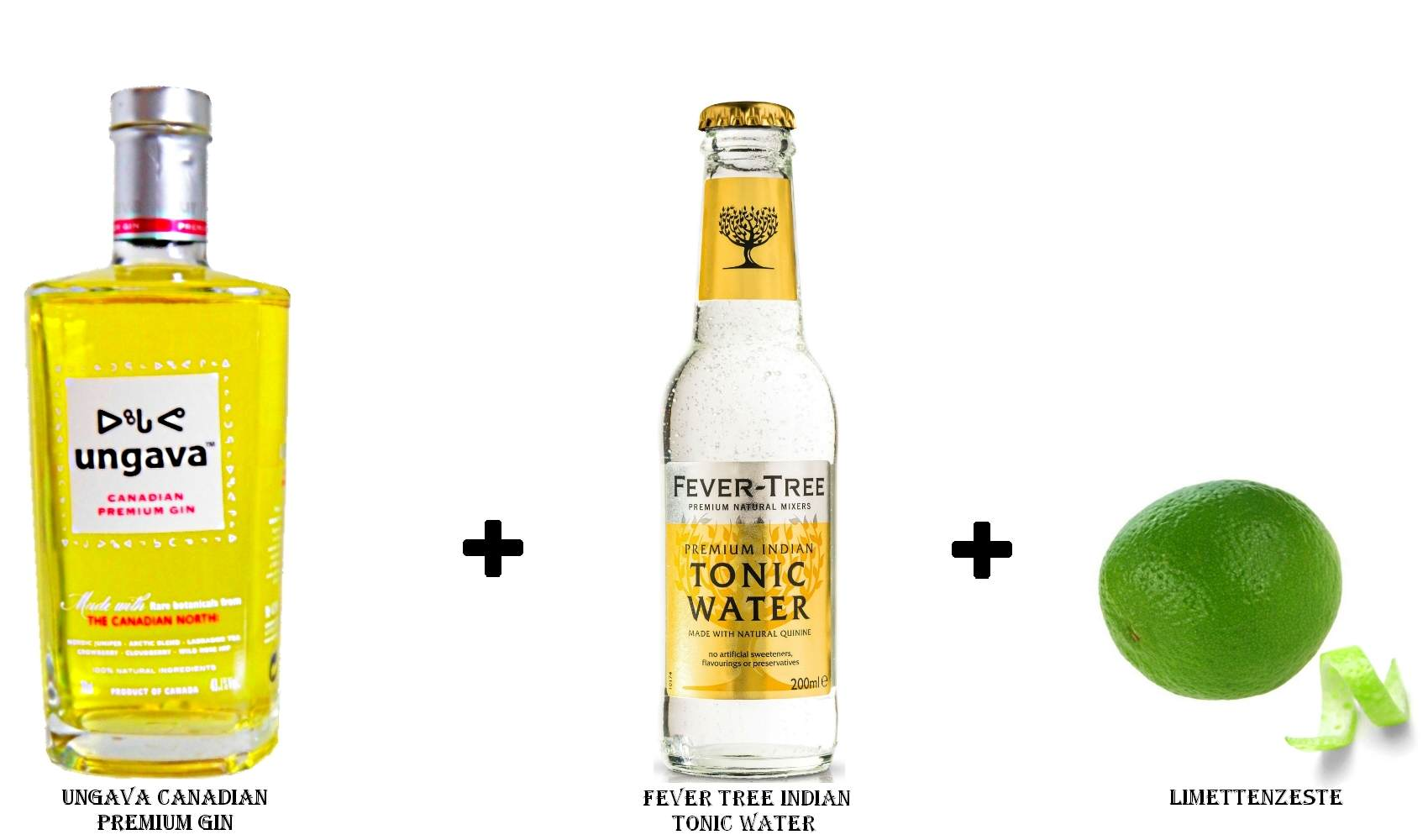 Ungava Canadian Premium Gin + Fever Tree Indian Tonic Water + Limettenzeste
