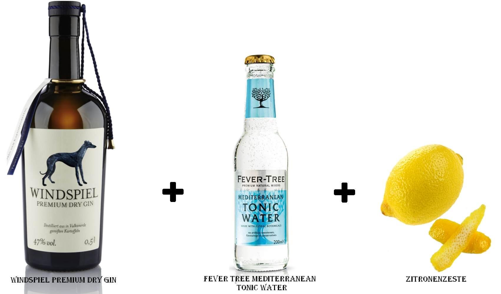Windspiel Premium Dry Gin + Fever Tree Mediterranean Tonic Water + Zitronenzeste