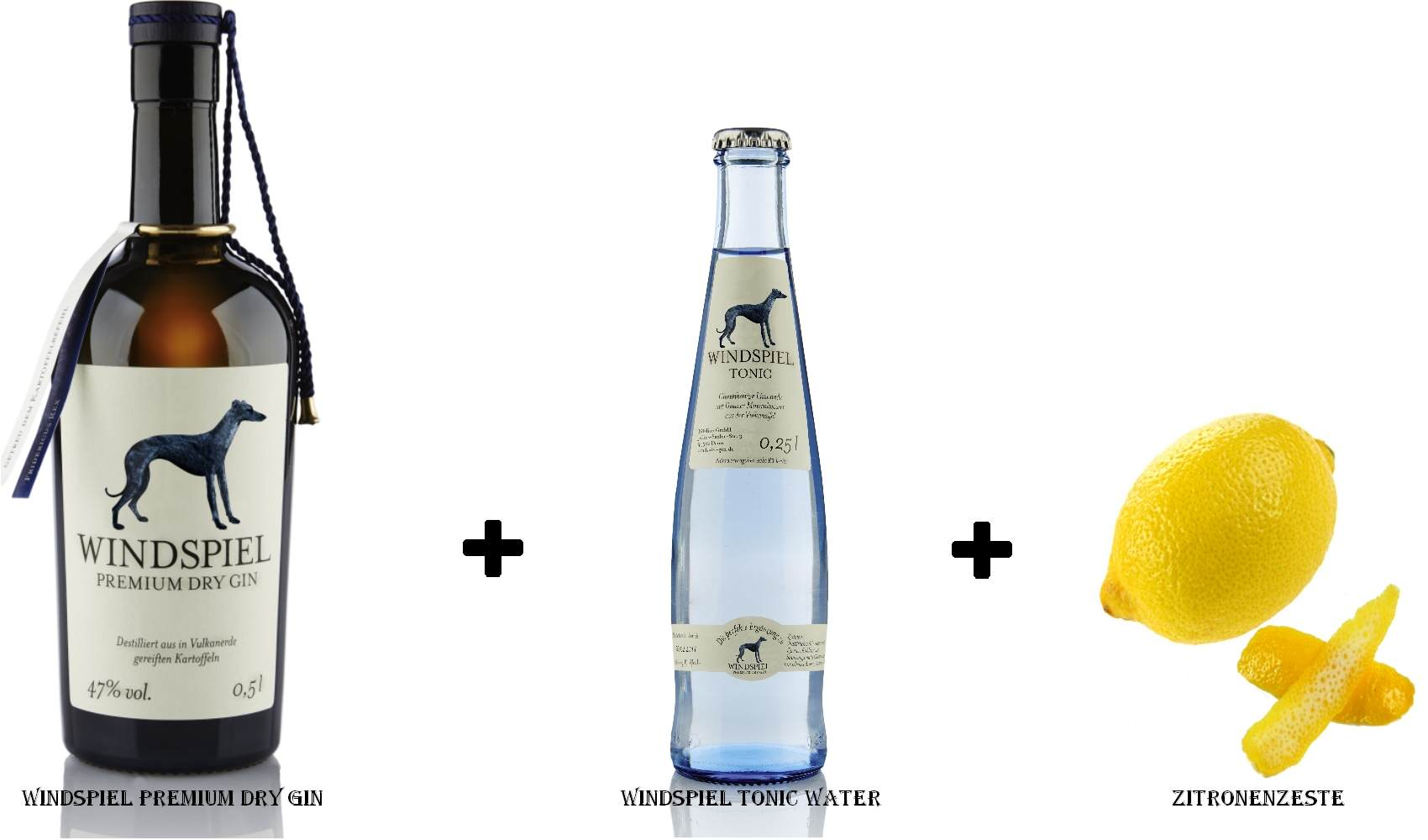 Windspiel Premium Dry Gin + Windspiel Tonic Water + Zitronenzeste