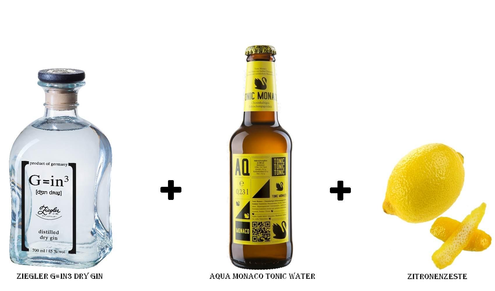 Ziegler G=in3 Dry Gin + Aqua Monaco Tonic Water + Zitronenzeste
